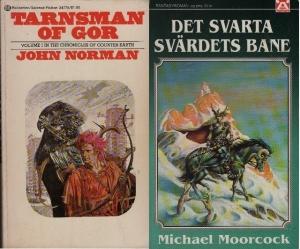 framsidor på böcker av John Norman och Michael Moorcoock